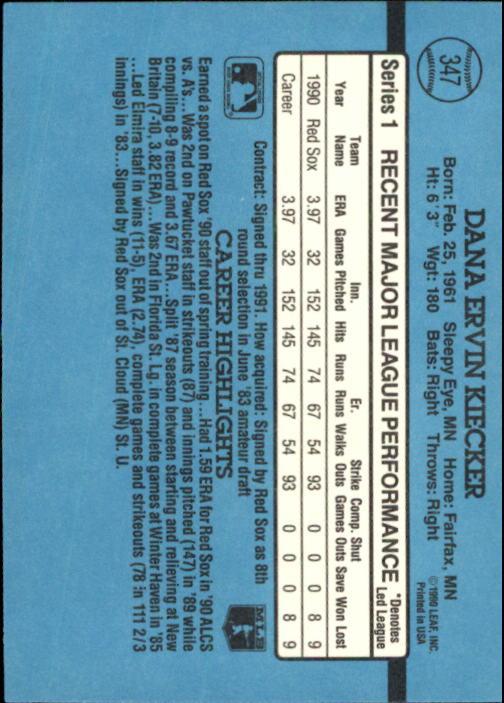 1991 Donruss #347 Dana Kiecker back image