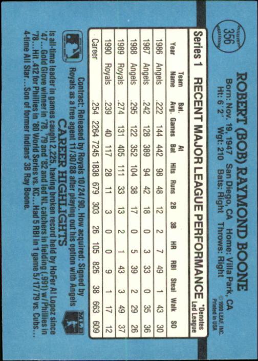 1991 Donruss #356 Bob Boone back image