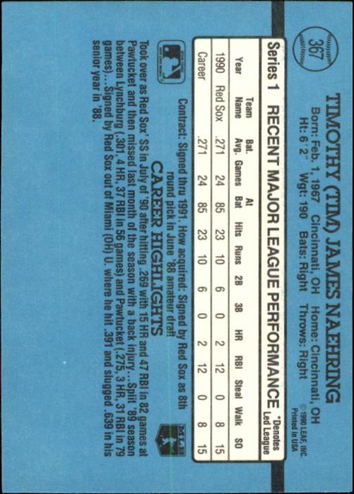 1991 Donruss #367 Tim Naehring back image