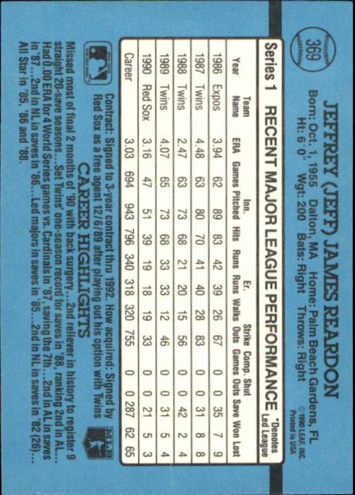 1991 Donruss #369 Jeff Reardon UER/Born in Pittsfield,/not Dalton back image