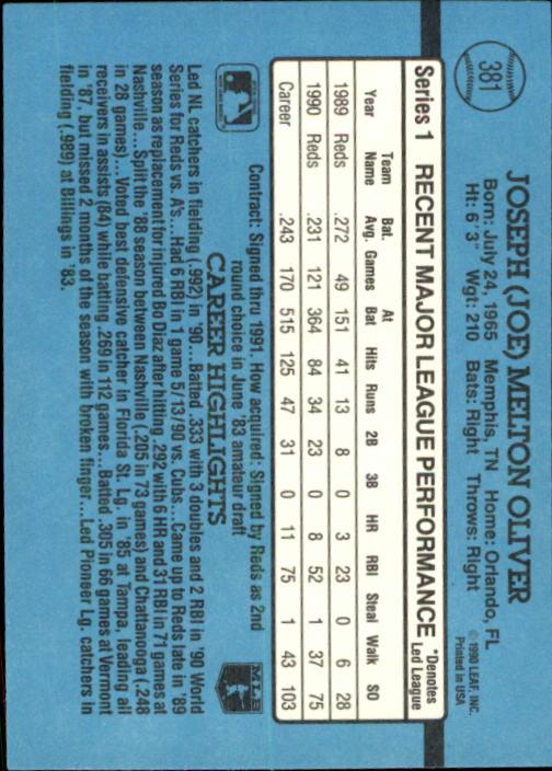 1991 Donruss #381 Joe Oliver back image