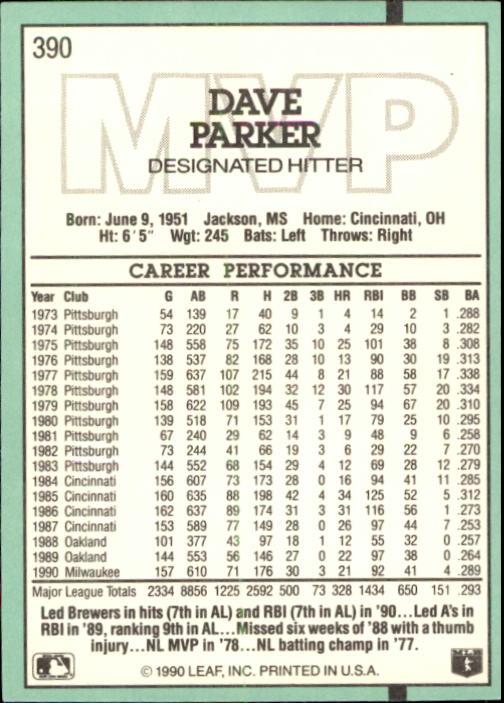 1991 Donruss #390 Dave Parker MVP back image