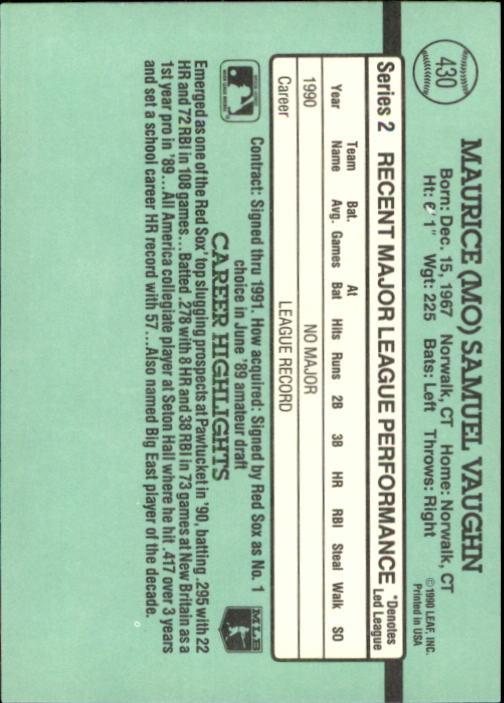 1991 Donruss #430 Mo Vaughn RR back image