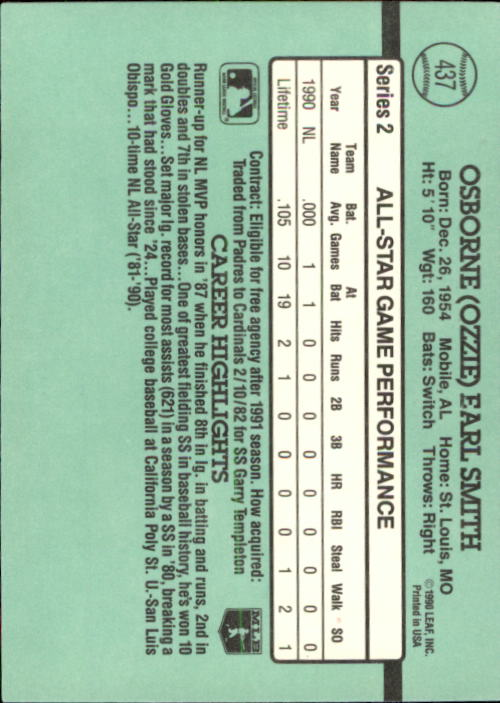1991 Donruss #437 Ozzie Smith AS back image
