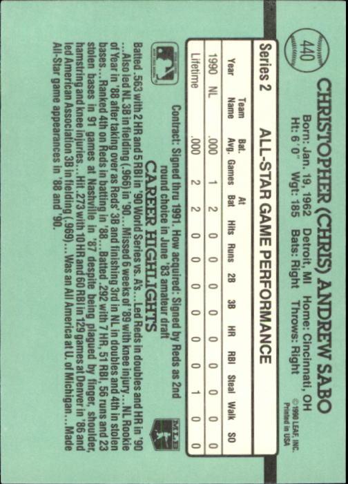 1991 Donruss #440 Chris Sabo AS back image