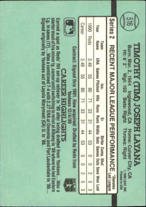 1991 Donruss #516 Tim Layana back image