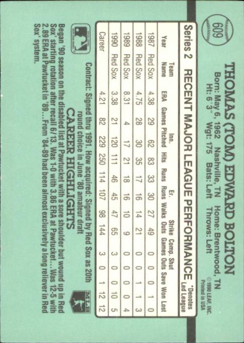 1991 Donruss #609 Tom Bolton back image