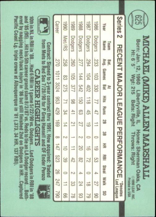 1991 Donruss #625 Mike Marshall back image