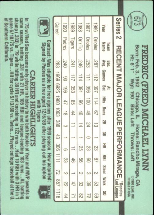 1991 Donruss #673 Fred Lynn back image