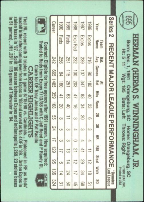1991 Donruss #695 Herm Winningham back image