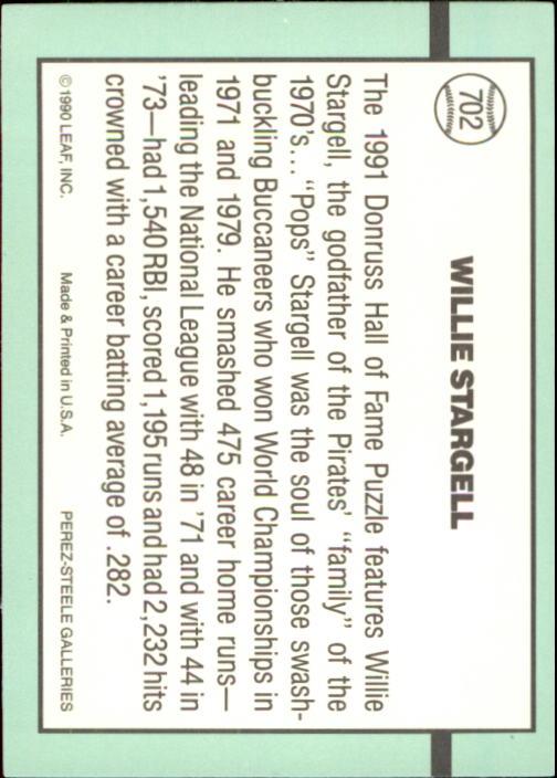1991 Donruss #702 Willie Stargell PUZ back image