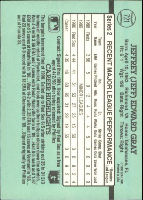 1991 Donruss #721 Jeff Gray RC back image