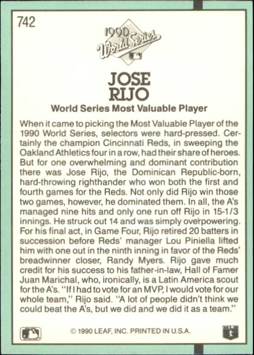 1991 Donruss #742 Jose Rijo WS back image