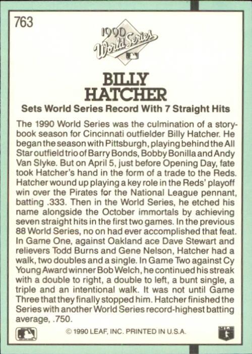 1991 Donruss #763 Billy Hatcher WS/UER (Line 13, on/should be one) back image