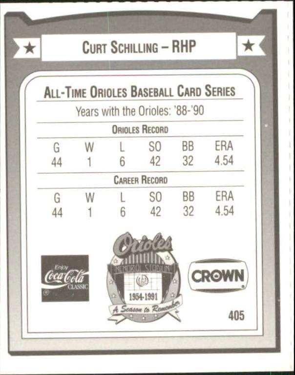 1991 Orioles Crown #405 Curt Schilling back image