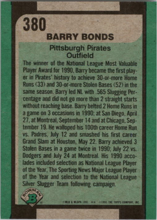 1991 Bowman #380 Barry Bonds SLUG back image