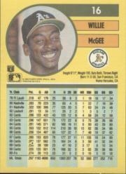 1991 Fleer #16 Willie McGee UER/Height 6'11 back image