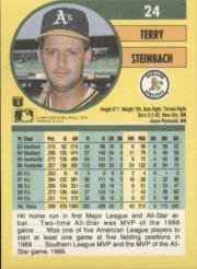 1991 Fleer #24 Terry Steinbach back image