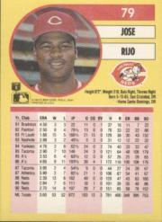 1991 Fleer #79 Jose Rijo back image