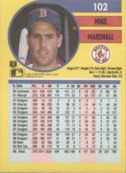 1991 Fleer #102 Mike Marshall back image