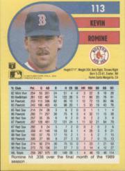 1991 Fleer #113 Kevin Romine back image