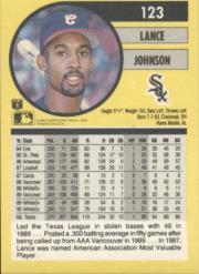 1991 Fleer #123 Lance Johnson UER/Born Cincinnati, should/be Lincoln Heights back image