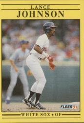1991 Fleer #123 Lance Johnson UER/Born Cincinnati, should/be Lincoln Heights