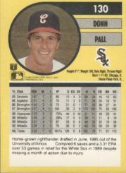 1991 Fleer #130 Donn Pall/No dots over any/i's in text back image