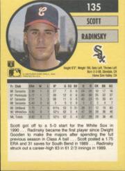 1991 Fleer #135 Scott Radinsky back image