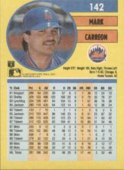 1991 Fleer #142 Mark Carreon back image
