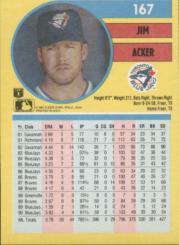 1991 Fleer #167 Jim Acker back image