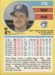 1991 Fleer #170 Willie Blair back image