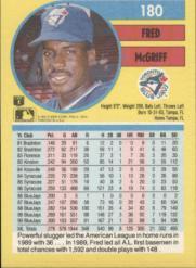 1991 Fleer #180 Fred McGriff back image