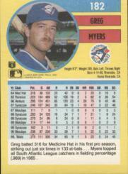 1991 Fleer #182 Greg Myers back image