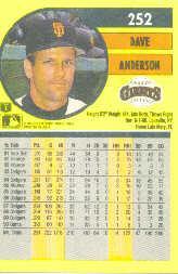 1991 Fleer #252 Dave Anderson back image