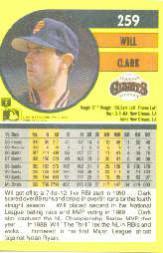 1991 Fleer #259 Will Clark back image