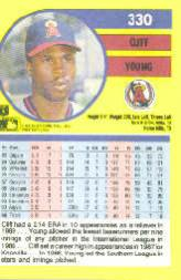 1991 Fleer #330 Cliff Young back image
