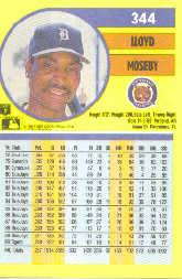 1991 Fleer #344 Lloyd Moseby back image