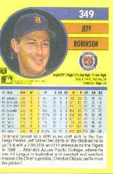 1991 Fleer #349 Jeff M. Robinson back image