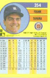 1991 Fleer #354 Frank Tanana back image