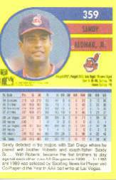 1991 Fleer #359 Sandy Alomar Jr. back image