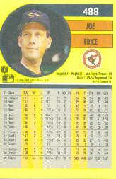 1991 Fleer #488 Joe Price back image