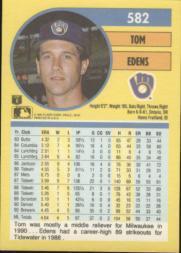 1991 Fleer #582 Tom Edens RC back image