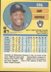 1991 Fleer #596 Gary Sheffield back image