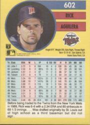 1991 Fleer #602 Rick Aguilera back image