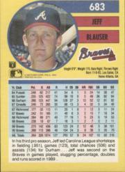 1991 Fleer #683 Jeff Blauser back image