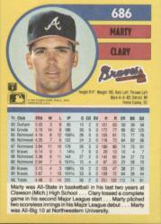 1991 Fleer #686 Marty Clary UER/Shown pitching righty,/but bio has left back image