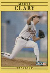 1991 Fleer #686 Marty Clary UER/Shown pitching righty,/but bio has left