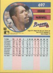 1991 Fleer #697 Oddibe McDowell back image