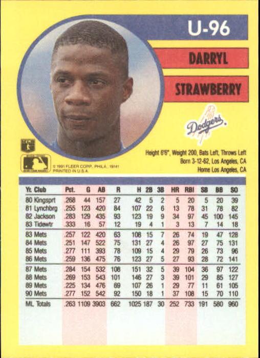 1991 Fleer Update #96 Darryl Strawberry back image